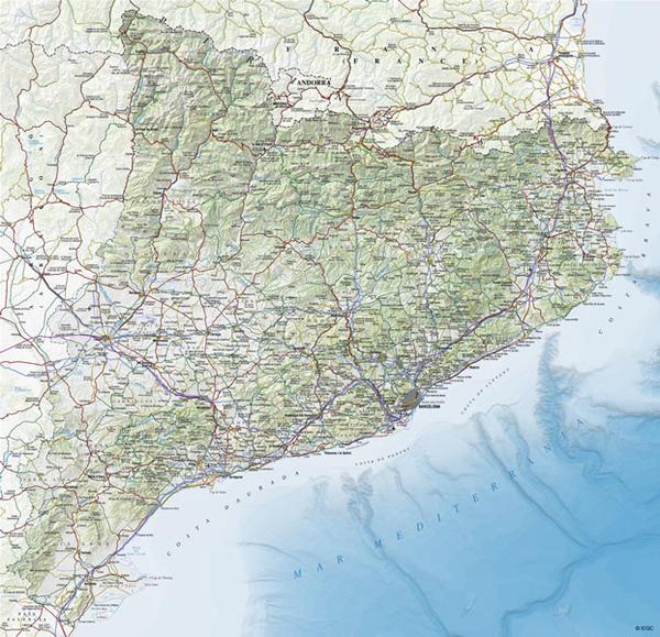 Mapa topogràfic de Catalunya 1:500.000